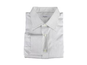 Ingram Mens Dress Shirt Size 45 US Regular Striped White Cotton