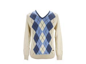 Heritage Mens V-Neck Sweater Size 50 Regular Argyle Brown Virgin Wool