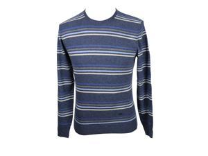 Heritage Mens Crewneck Sweater Size 48 Regular Striped Blue Virgin Wool