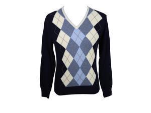 Heritage Mens V-Neck Sweater Size 48 Regular Argyle Blue Virgin Wool