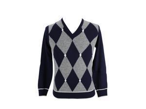 Marina Yachting Mens V-Neck Sweater Size S US Regular Argyle Blue Virgin Wool