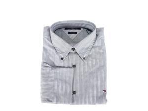 Tommy Hilfiger Mens Dress Shirt Size S US Regular Striped Grey Cotton