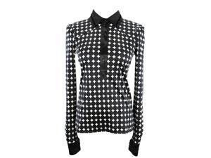 Roberto Cavalli Long Sleeve Womens Polka Dot Blouse Size 44 Regular Black Silk