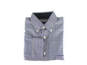 Barbour Mens Dress Shirt Size S US Regular Checkered Blue Cotton