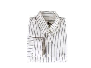 Golden Goose Mens Dress Shirt Size M US Regular Striped Ivory Cotton