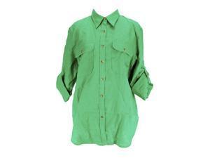 Lauren Ralph Lauren Long Sleeve Womens Button Down Shirt Size L US Regular Green