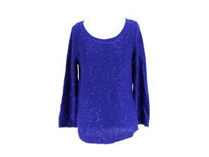 Anne Klein Womens Scoop Neck Sweater Size M US Regular - Blue Polyester Blend