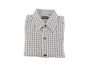 Tom Ford Mens Dress Shirt Size S US Regular Plaid Black Cotton