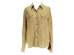 Lauren Ralph Lauren Long Sleeve Womens Button Down Shirt Size 8 Regular Beige