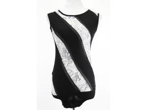 Roberto Cavalli Sleeveless Womens Striped Tank Top Size 8 Regular Black Wool