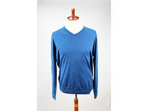 Heritage Mens V-Neck Sweater Size 58 Regular Blue Wool