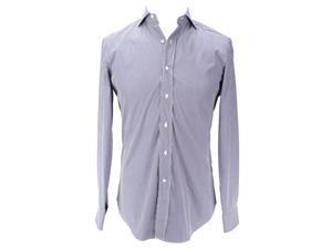 Alessandro Gherardi Mens Long Sleeve Dress Shirt Size L US Regular Striped Blue