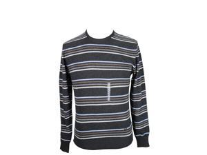 Heritage Mens Crewneck Sweater Size 50 Regular Striped Grey Virgin Wool Blend