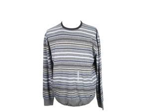 Heritage Mens Crewneck Sweater Size 58 Regular Striped Grey Virgin Wool Blend