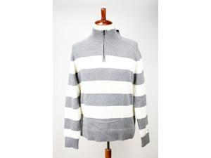 Tommy Hilfiger Mens 1/2 Zip Sweater Size XXL US Regular Striped Grey Cotton