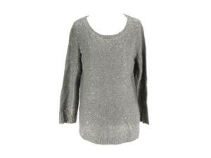 Anne Klein Womens Scoop Neck Sweater Size M US Regular - Grey Polyester Blend
