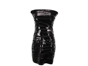 Poems Womens Strapless Stretch Dress Size L US Regular Striped Black Polyester