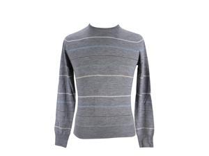 Heritage Mens Crewneck Sweater Size 50 Regular Striped Grey Virgin Wool