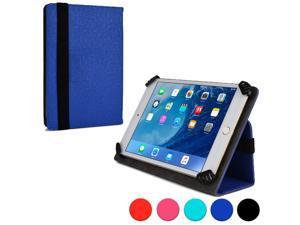 "Cooper Cases (TM) Infinite Universal 7"" - 8"" Tablet Folio Case in Blue (Universal Fit, Pleather Exterior, Foldout Stand, Elastic Strap Closure)"