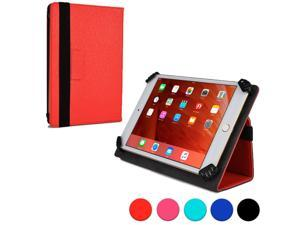 """Cooper Cases (TM) Infinite Universal 7"""" - 8"""" Tablet Folio Case in Red (Universal Fit, Pleather Exterior, Foldout Stand, Elastic Strap Closure)"""