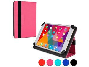 """Cooper Cases (TM) Infinite Universal 7"""" - 8"""" Tablet Folio Case in Pink (Universal Fit, Pleather Exterior, Foldout Stand, Elastic Strap Closure)"""