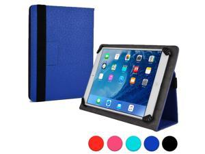 "Cooper Cases (TM) Infinite Universal 9"" - 10.1"" Tablet Folio in Dark Blue (Universal Fit, Pleather Exterior, Foldout Stand, Elastic Strap Closure)"
