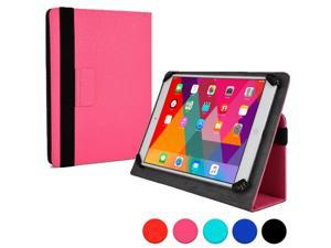 """Cooper Cases (TM) Infinite Universal 9"""" - 10.1"""" Tablet Folio in Hot Pink (Universal Fit, Pleather Exterior, Foldout Stand, Elastic Strap Closure)"""
