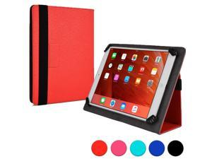 """Cooper Cases (TM) Infinite Universal 9"""" - 10.1"""" Tablet Folio in Red (Universal Fit, Pleather Exterior, Foldout Stand, Elastic Strap Closure)"""