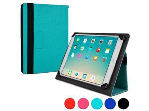 """Cooper Cases (TM) Infinite Universal 9"""" - 10.1"""" Tablet Folio in Turquoise Green (Universal Fit, Pleather Exterior, Foldout Stand, Elastic Strap Closure)"""