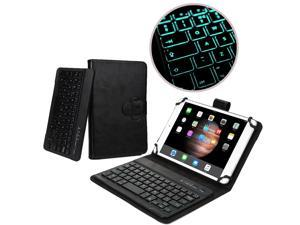 """Cooper Cases(TM) Backlight Executive Universal 7"""" - 8"""" inch Tablet Bluetooth Keyboard Folio in Black (Removable QWERTY Keyboard w/ 78 Keys & LED Backlight Feature)"""