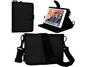 """Cooper Cases(TM) Magic Carry Universal 7"""" - 8"""" Tablet Folio Case w/Shoulder Strap in Black (Premium Pleather Cover, Built-in Viewing Stand and Elastic Hand-Strap)"""