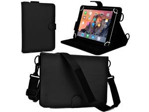 "Cooper Cases(TM) Magic Carry Universal 9"" - 10.1"" Tablet Folio Case w/ Shoulder Strap in Black (Premium Pleather Cover, Built-in Viewing Stand, Elastic Hand-Strap)"