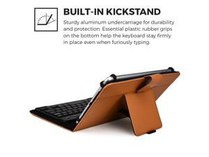 """Cooper Cases(TM) Backlight Executive Universal 7"""" - 8"""" inch Tablet Bluetooth Keyboard Folio in Tan (Faux Leather Cover, QWERTY LED Backlit Keyboard&#59; Built-in Stand)"""