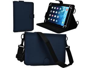 """Cooper Cases(TM) Magic Carry Universal 9"""" - 10.1"""" Tablet Folio Case w/ Shoulder Strap in Blue (Premium Pleather Cover, Built-in Viewing Stand, Elastic Hand-Strap)"""