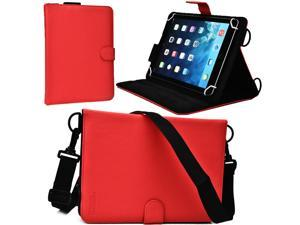 """Cooper Cases(TM) Magic Carry Universal 9"""" - 10.1"""" Tablet Folio Case w/ Shoulder Strap in Red (Premium Pleather Cover, Built-in Viewing Stand, Elastic Hand-Strap)"""
