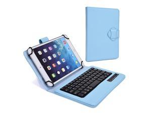 """Cooper Cases (TM) Infinite Executive 7"""" - 8"""" inch Tablet Bluetooth Keyboard Folio in Baby Blue (Premium Pleather Cover, Built-in Stand, Removable QWERTY Keyboard)"""