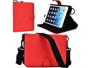 "Cooper Cases(TM) Magic Carry Universal 7"" - 8"" Tablet Folio Case w/Shoulder Strap in Red (Premium Pleather Cover, Built-in Viewing Stand and Elastic Hand-Strap)"