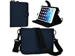 """Cooper Cases(TM) Magic Carry Universal 7"""" - 8"""" Tablet Folio Case w/Shoulder Strap in Blue (Premium Pleather Cover, Built-in Viewing Stand and Elastic Hand-Strap)"""
