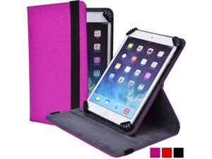 "Cooper Cases (TM) Infinite S360 Universal 7"" - 8"" Tablet Folio Case in Magenta (Universal Fit, 360-Degree Rotating Stand Feature, Synthetic Cover, Elastic Strap Closure)"