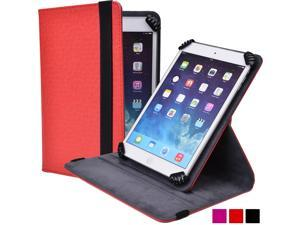 "Cooper Cases (TM) Infinite S360 Universal 7"" - 8"" Tablet Folio Case in Red (Universal Fit, 360-Degree Rotating Stand Feature, Synthetic Cover, Elastic Strap Closure)"