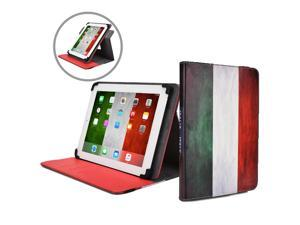 """Cooper Cases(TM) Patriot Universal 9-10"""" Tablet Folio w/ Italy Flag Pattern (Universal fit, 360-Degree Rotating Stand, Elastic Strap Closure)"""
