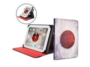 """Cooper Cases(TM) Patriot Universal 9-10"""" Tablet Folio w/ Japan Flag Pattern (Universal fit, 360-Degree Rotating Stand, Elastic Strap Closure)"""