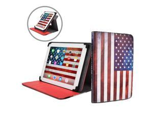 """Cooper Cases(TM) Patriot Universal 9-10"""" Tablet Folio w/ USA Flag Pattern (Universal fit, 360-Degree Rotating Stand, Elastic Strap Closure)"""