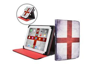 """Cooper Cases(TM) Patriot Universal 9-10"""" Tablet Folio w/ England Flag Pattern (Universal fit, 360-Degree Rotating Stand, Elastic Strap Closure)"""