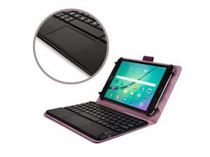 "Cooper Cases(TM) Touchpad Executive Universal 8"" Tablet Bluetooth Keyboard Folio in Purple (Removable QWERTY Keyboard&#59; Built-in Stand&#59; Rechargeable Battery)"