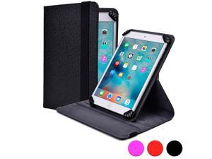 """Cooper Cases (TM) Infinite S360 Universal 9"""" - 10.1"""" Tablet Folio Case in Black (Universal Fit, 360-Degree Rotating Stand Feature, Synthetic Cover, Elastic Strap Closure)"""