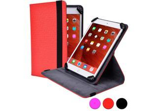 "Cooper Cases (TM) Infinite S360 Universal 9"" - 10.1"" Tablet Folio Case in Red (Universal Fit, 360-Degree Rotating Stand Feature, Synthetic Cover, Elastic Strap Closure)"