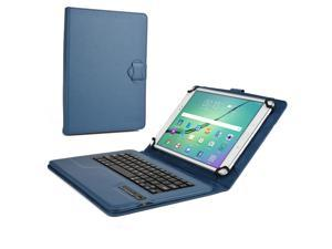 """Cooper Cases (TM) Infinite Executive 9"""" - 10.1"""" inch Tablet Bluetooth Keyboard Folio in Dark Blue (Pleather Cover, Built-in Stand, QWERTY Keyboard, Rechargeable Battery)"""