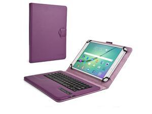 """Cooper Cases (TM) Infinite Executive 9"""" - 10.1"""" inch Tablet Bluetooth Keyboard Folio in Dark Purple (Pleather Cover, Built-in Stand, QWERTY Keyboard, Rechargeable Battery)"""