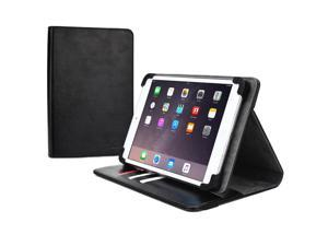 """Cooper Cases(TM) Diplomat Universal 9"""" - 10.1"""" Tablet Portfolio Case in Black (Business/Credit Card Slots, Rotating Viewing Stand, Elastic Strap Cover Lock)"""
